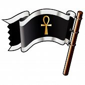 pic of ankh  - Ankh religious symbol on black silver and gold vector flag good for use on websites in print or on promotional materials - JPG
