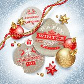 Cardboard labels with Christmas greeting and holiday decor on a snow - vector illustration