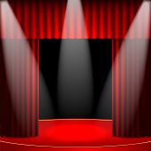 Theatrical Background.scene And Red Curtains.interior For The Theater And Cinema.scene Illuminated F