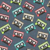 Seamless Background With Vintage Analogue Music Recordable Cassettes