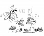 foto of gnats  - girl runs away from mosquitoes  - JPG