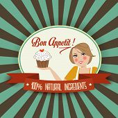Retro Wife Illustration With Bon Appetit Message