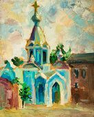 Oil painting on canvas. Old Church.