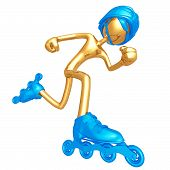 3D Vector Gold Guy Roller Skating