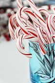 Candy Canes In Blue Container