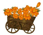 A Wood  Trolley  And Flower