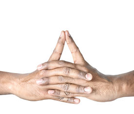foto of samadhi  - Hands in Uttarabodhi mudra by Indian man isolated at white background - JPG