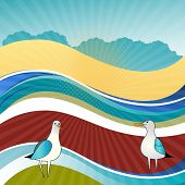 Summer beach landscape with seagulls esp10