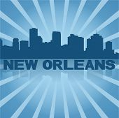 New Orleans skyline reflected with blue sunburst vector illustration