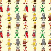 stock photo of courtier  - Seamless Medieval People Pattern - JPG