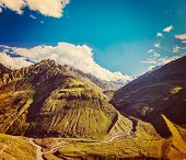 Vintage retro effect filtered hipster style travel image of Himalayan valley in Himalayas. Lahaul va