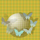 group of butterflies near the ball on the background fabric texture