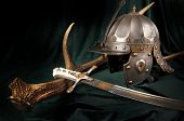 stock photo of headdress  - Iron helmet of the medieval knight - JPG