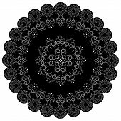 Round Lace Black White Doily.