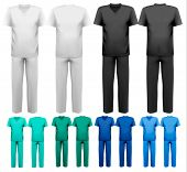 Sets of medical/doctor clothes. Raster version
