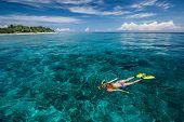 Lady snorkeling in turquoise water near Gili Trawangan island, Indonesia