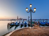 Grand Canal Embankment And San Giorgio Maggiore Church At Dawn, Venice, Italy