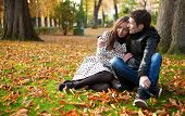 Young Beautiful Couple In The Luxembourg Garden At Fall. Paris, France