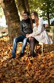 Young Couple In The Luxembourg Garden Of Paris At Fall