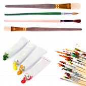 Collage of paint brushes with acrylic paint in tubes isolated on white