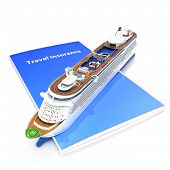 Travel Insurance concept with cruise ship
