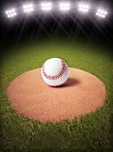 stock photo of pitcher  - 3d rendering of a Baseball on a pitchers mound of Lighted Baseball field - JPG