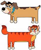 Постер, плакат: Плоские кошка и собака