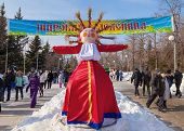 Shrovetide In Russia. Big Doll For The Burning