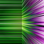 Abstract warped green and purple stripes