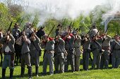 Confederate Troops Firing Muskets