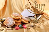 picture of hanukkah  - Festive composition for Hanukkah on cloth close - JPG