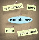 Compliance Words Bulletin Board Rules Laws Regulations