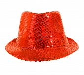 foto of vaudeville  - one festively shining red hat full face on white background - JPG