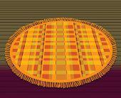 Orange circular bathroom mat