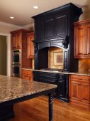 Model Luxury Home Interior Kitchen Mixed Tone Cabinets Table