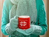 Female hands holding knitted winter mug close up. Woman hands in teal mittens holding a cozy knitted cup with hot cocoa, tea or coffee on a soft background. Winter and Christmas time concept.