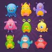 stock photo of creatures  - Cute cartoon monsters funny alien character icons set isolated on dark background vector illustration - JPG