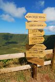 Sign Over The Volcano In Azores island