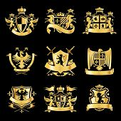 foto of decorative  - Heraldic royal art symbols decorative emblems golden set with griffin swords and ribbons isolated vector illustration - JPG