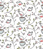 Garden with Birds Seamless Pattern