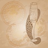 Wine Glass With The Doodle Circular Pattern