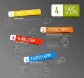 One two three four - vector paper progress steps for tutorial template