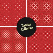 Classical Red Textured Polka Dot Seamless Different Patterns Collection