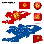 Kyrgyzstan vector set.