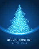 Christmas tree from light vector background. Greeting card or invitation. Eps 10.