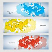 Three vector banner with abstract colored shapes