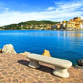 Bench On Seafront In Porto Santo Stefano, Argentario, Tuscany, Italy.