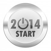 year 2014 chrome web icon isolated