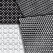 Set Of Several Seamless Carbon Fiber Patterns