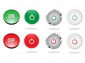 Set of On Off buttons